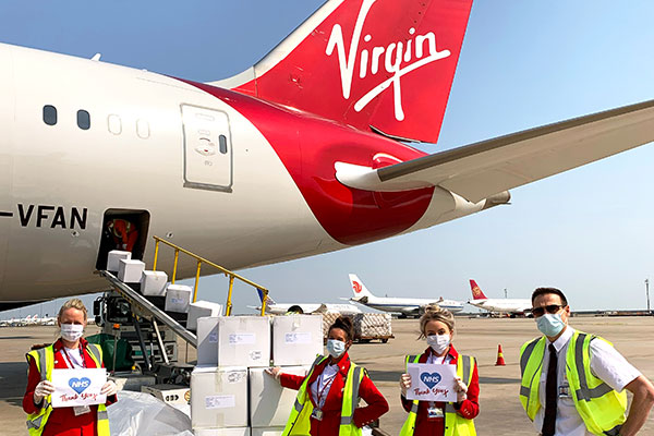 Coronavirus: Virgin Atlantic flies medical supplies to support NHS