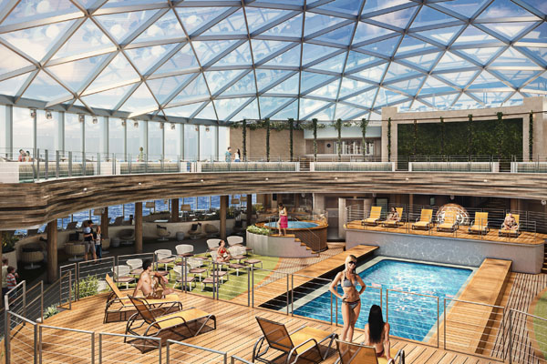 Pictures of P&O Cruises' SkyDome on Iona released
