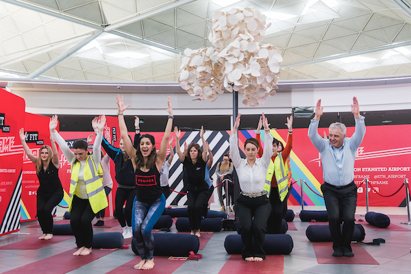 Stansted passengers de-stress with yoga classes