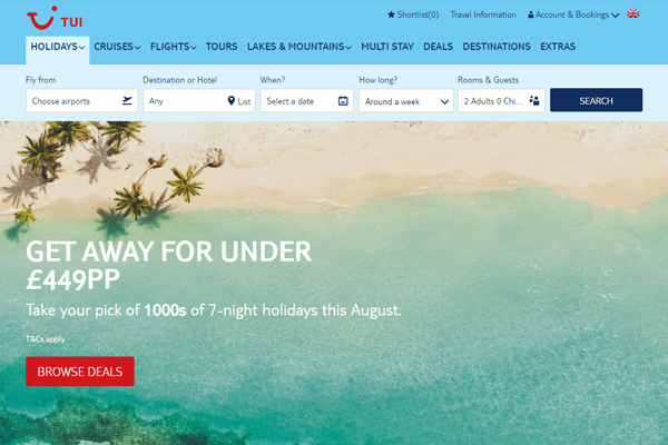 Tui tops consumer survey of holiday websites