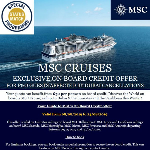 Poster, MSC Cruises, August 2019