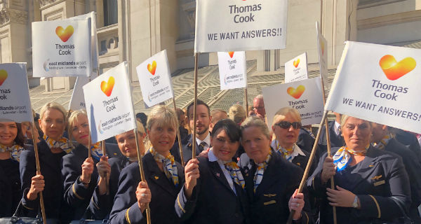 Thomas Cook cabin crew protesting