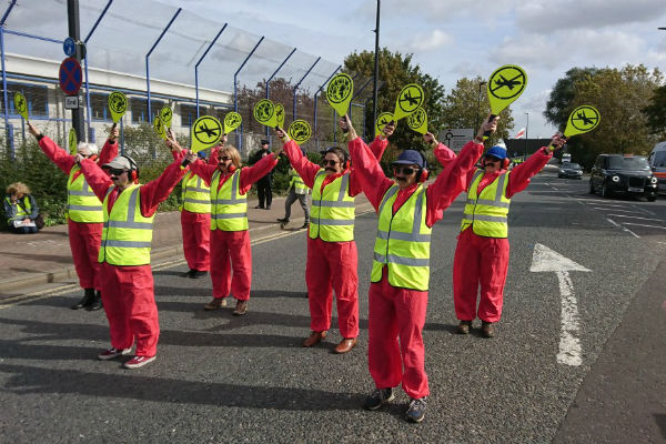 Extinction Rebellion activists stage Heathrow third runway protest