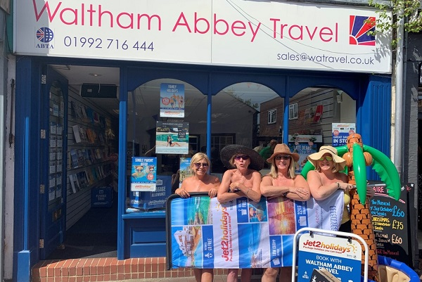 Waltham Abbey Travel goes nude for window display competition