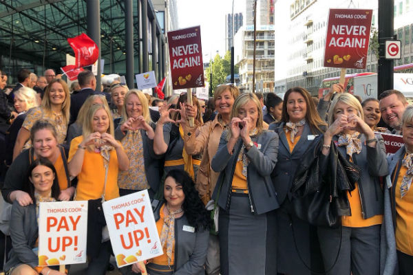 Video: Thomas Cook staff march on Westminster