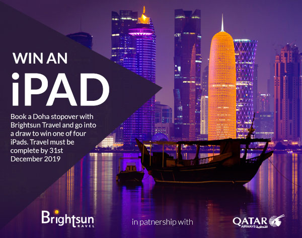 Win one of four iPads when you book the Doha stopover with Brightsun Travel