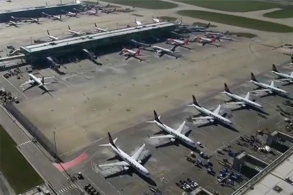Video: Stansted drone footage reveals extent of aircraft groundings during coronavirus pandemic