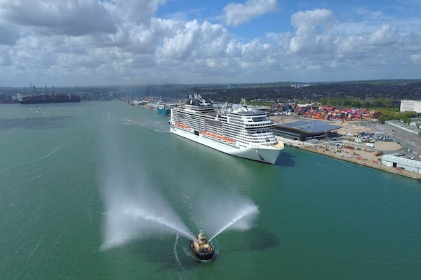 New ship MSC Virtuosa sails into Southampton