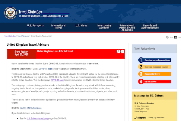 US adds UK to 'Do Not Travel' list