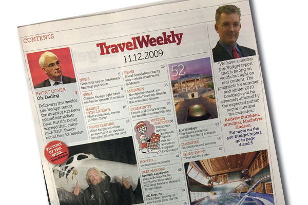 This week in: Featuring Virgin Galactic, Ultimate Holidays and Olympic Airways
