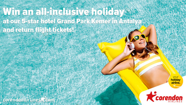 Win an all-inclusive holiday to Antalya with Corendon Airlines