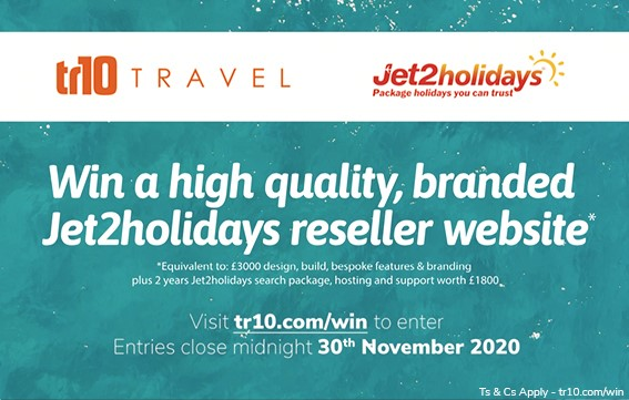 Win a Jet2holidays reseller website built by tr10 Travel!