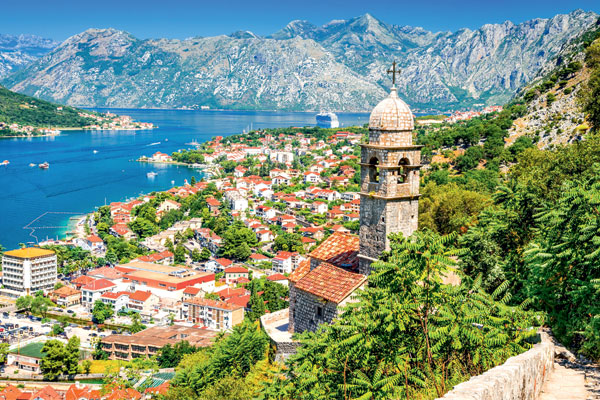 Old town charm in the ancient walled city Kotor, Montenegro