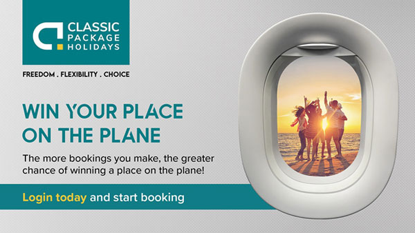 Win a holiday for you and a plus one to Location X with Classic Package Holidays